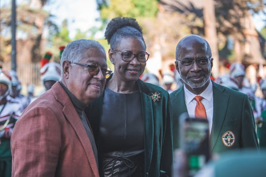 FAMU president Larry Robinson, his wife Sharon and FAMU Bernard Kinsey.
