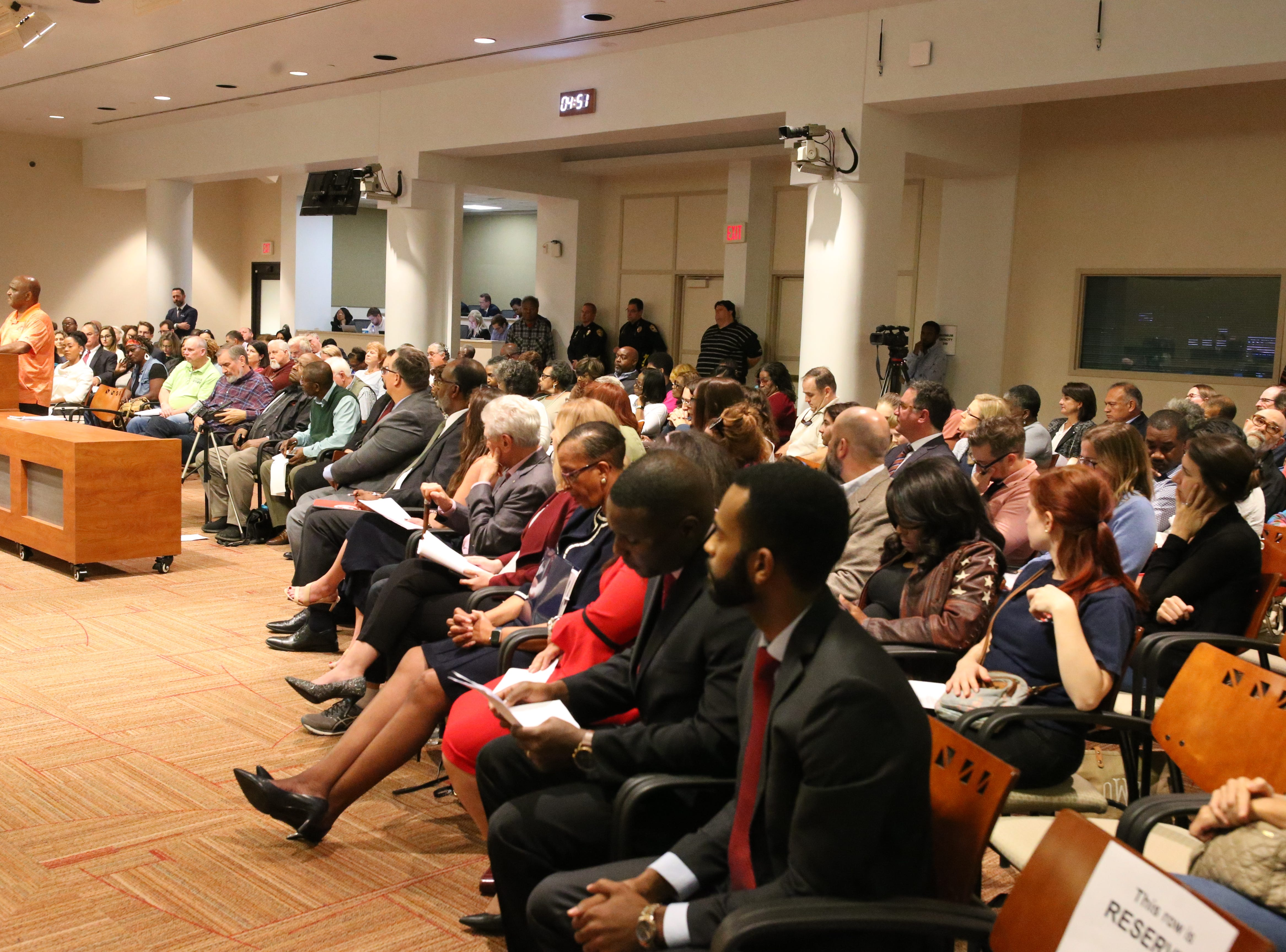 The Commission room is packed on Monday, Dec. 31, 2018, with Tallahasseeans awaiting to hear who will replace Scott Maddox as city commissioner after he was removed from office.