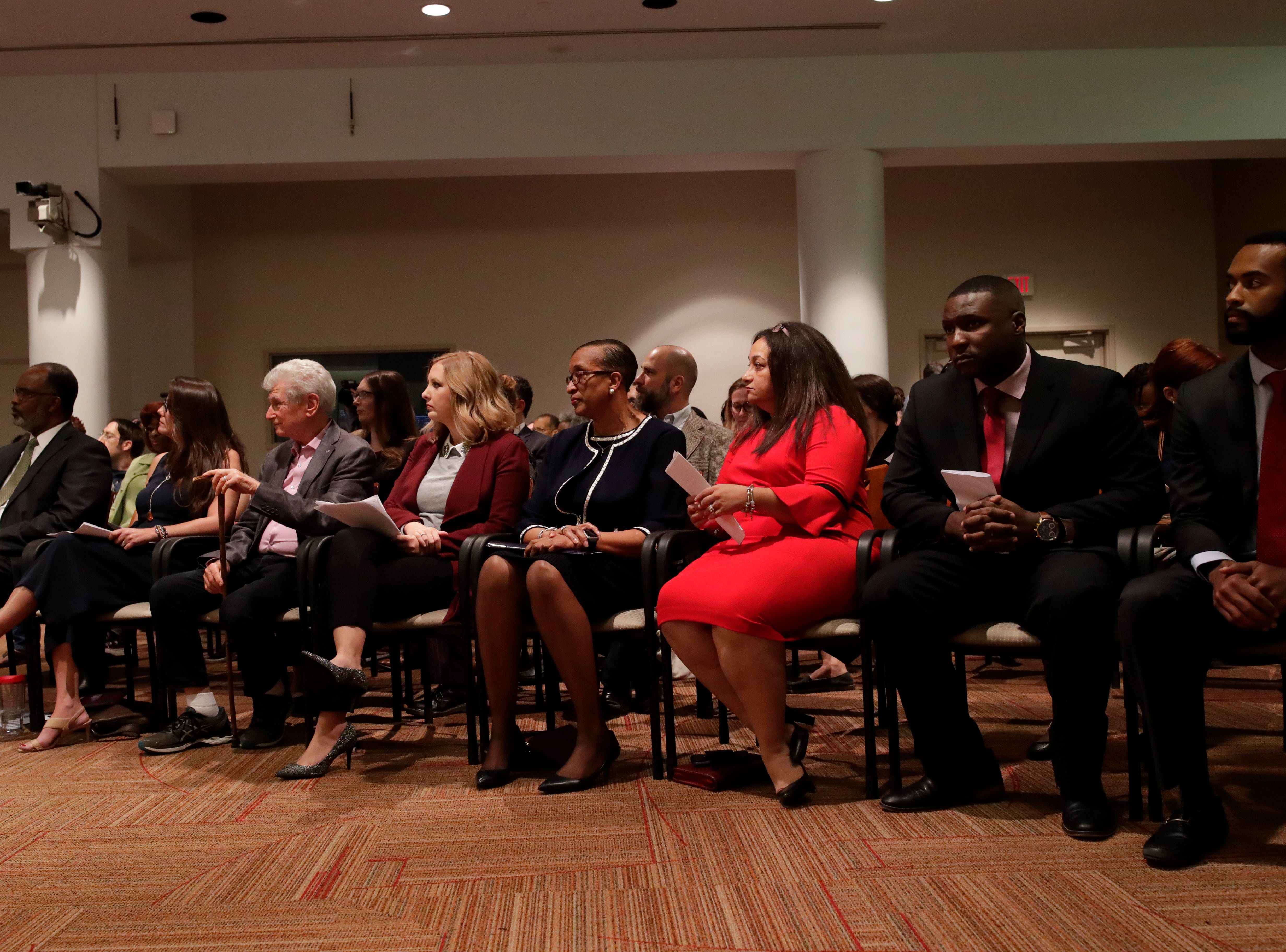 The nine candidates looking to replace Scott Maddox as City Commissioner await their turn to promote themselves for the position at the City Commission meeting, Monday, Dec. 31, 2018.