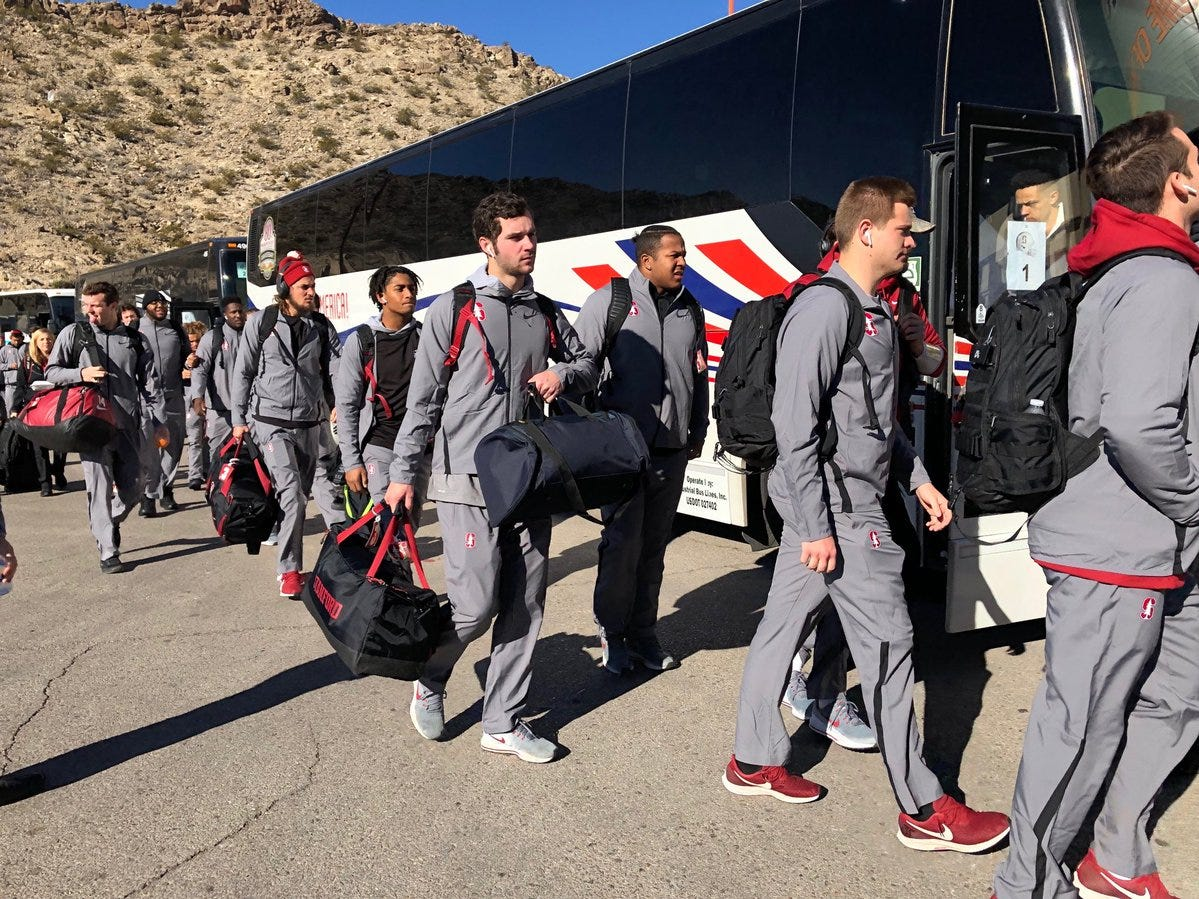The Stanford football team arrives at the Sun Bowl on Monday for the Cardinal's game against the University of Pittsburgh Panthers.