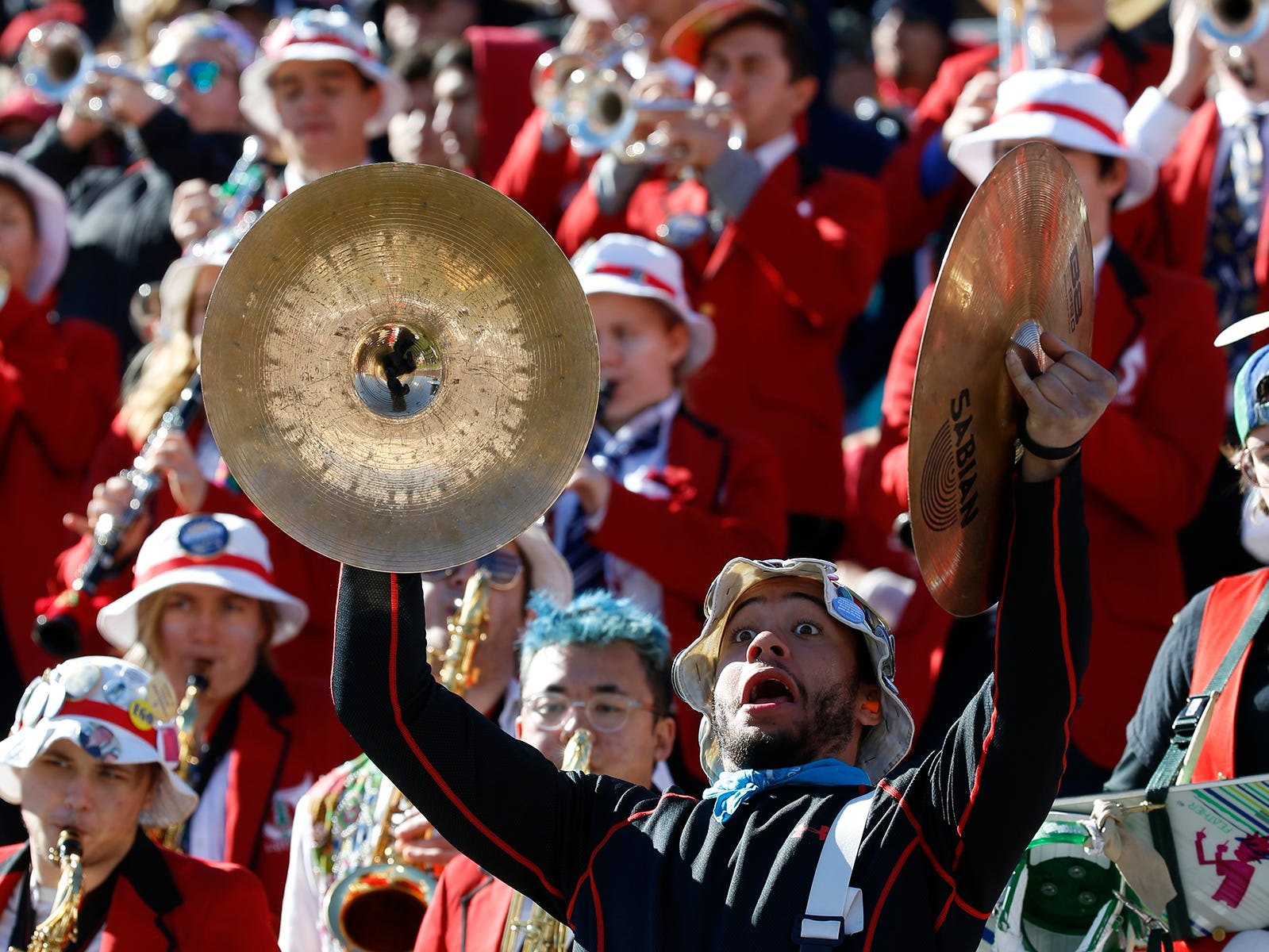 The Stanford band cheers the Cardinal on their way to a 14-13 win over the Pittsburgh Panthers football team Monday, Dec. 31, at the 85th Annual Hyundai Sun Bowl.