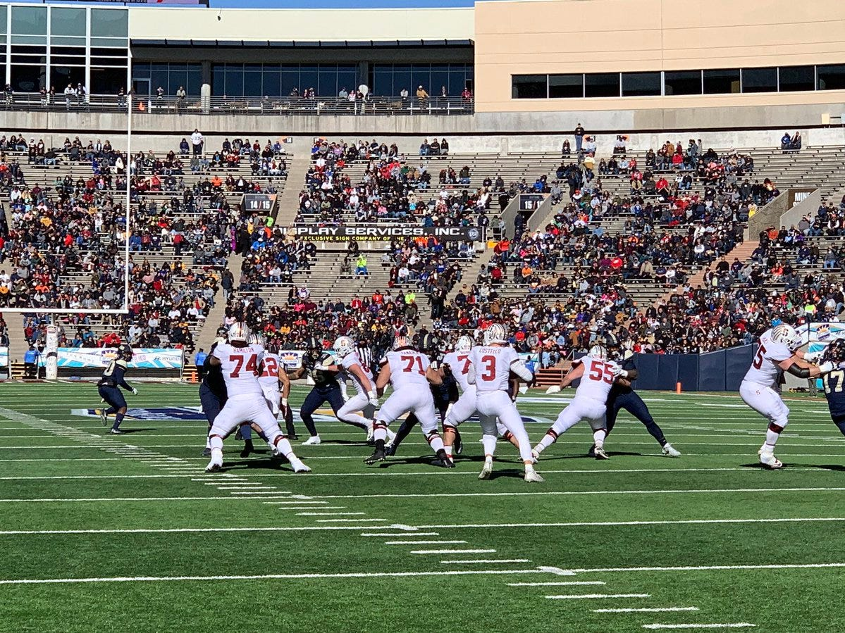 Stanford gets the ball for the second time in first quarter action at the 85th Hyundai Sun Bowl.