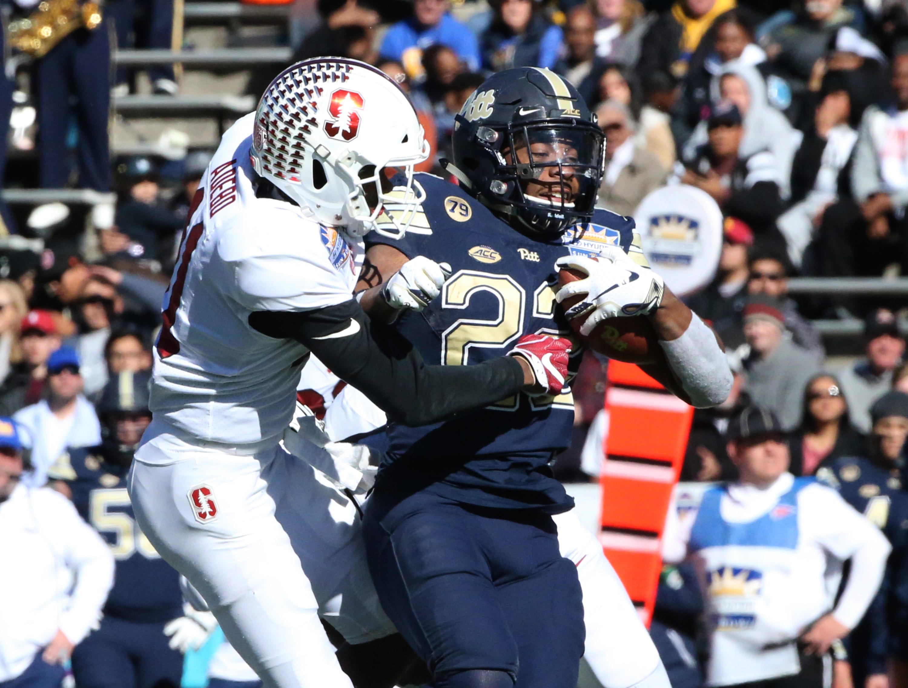Pitt tail back Darrin Hall, 22, scampers downfield against Stanford in the 85th Hyundai Sun Bowl game Monday, Dec. 31 in El Paso, TX.