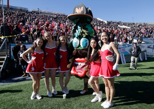 The Stanford mascot stood with the cheer squad during Monday's matchup against Pitt at the 85th Annual Hyundai Sun Bowl. In honor of El Paso, the mascot Tree sported a Whataburger cap and button that said Beto-Tree 2020.