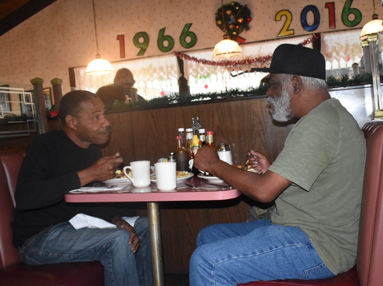 """""""This place has been a healing spot for a lot of people,"""" said Curtis Stewart, left, of  Ventura's Vagabond Restaurant. It closes Tuesday. Stewart dined Monday with his friend, Richard Booker."""
