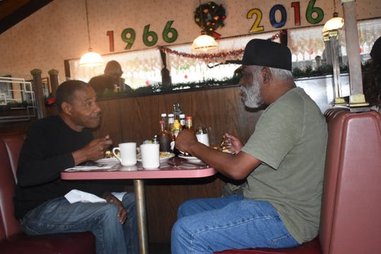 """This place has been a healing spot for a lot of people,"" said Curtis Stewart, left, of  Ventura's Vagabond Restaurant. It closes Tuesday. Stewart dined Monday with his friend, Richard Booker."