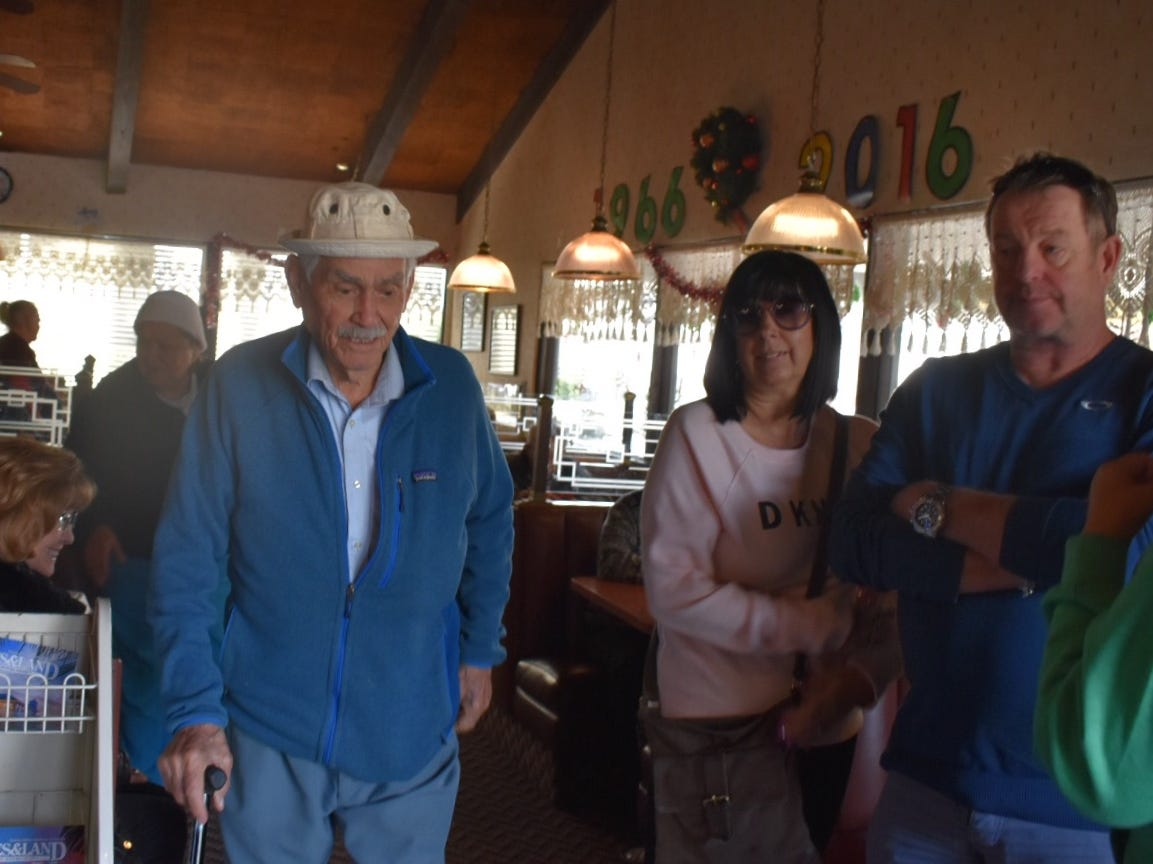 Ray Varela Sr., 90, of El Rio leaves Ventura's Vagabond Restaurant Monday. He first ate here in 1966, the same year the diner opened.
