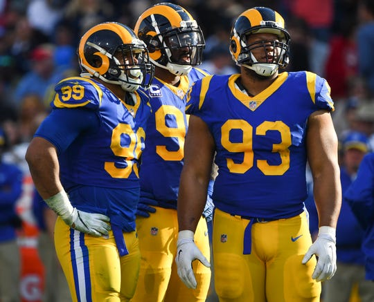 Defensive lineman Aaron Donald (99), Michael Brockers (90) and Ndamukong Suh (93) will have to make an impact in the playoffs if the Rams want to reach the Super Bowl.