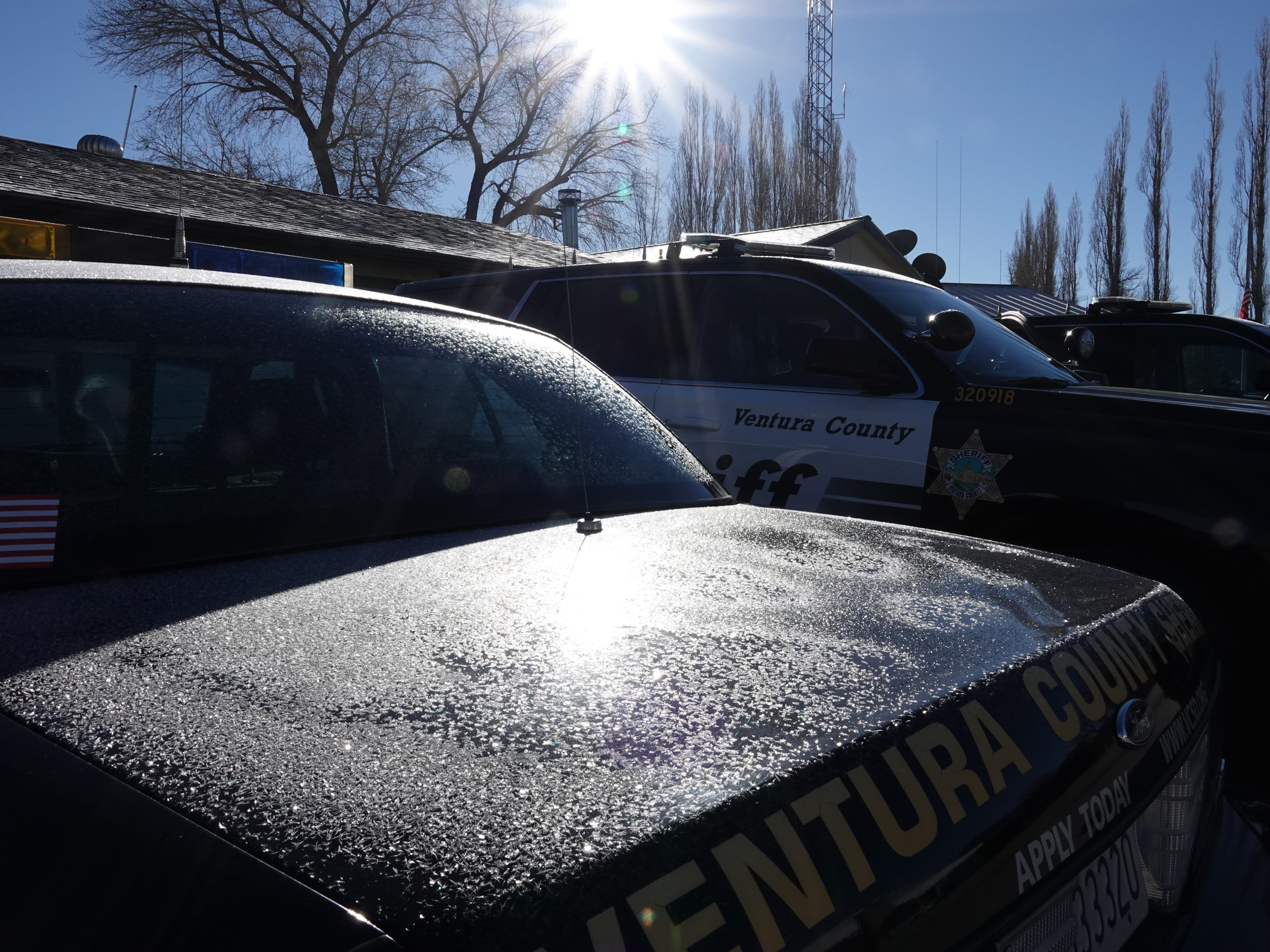 Patrol cars were icy outside the Ventura County sheriff's Lockwood Valley substation where the temperature was 18 degrees on the morning of Dec. 29. Two live-in deputies at the station oversee 610 square miles.