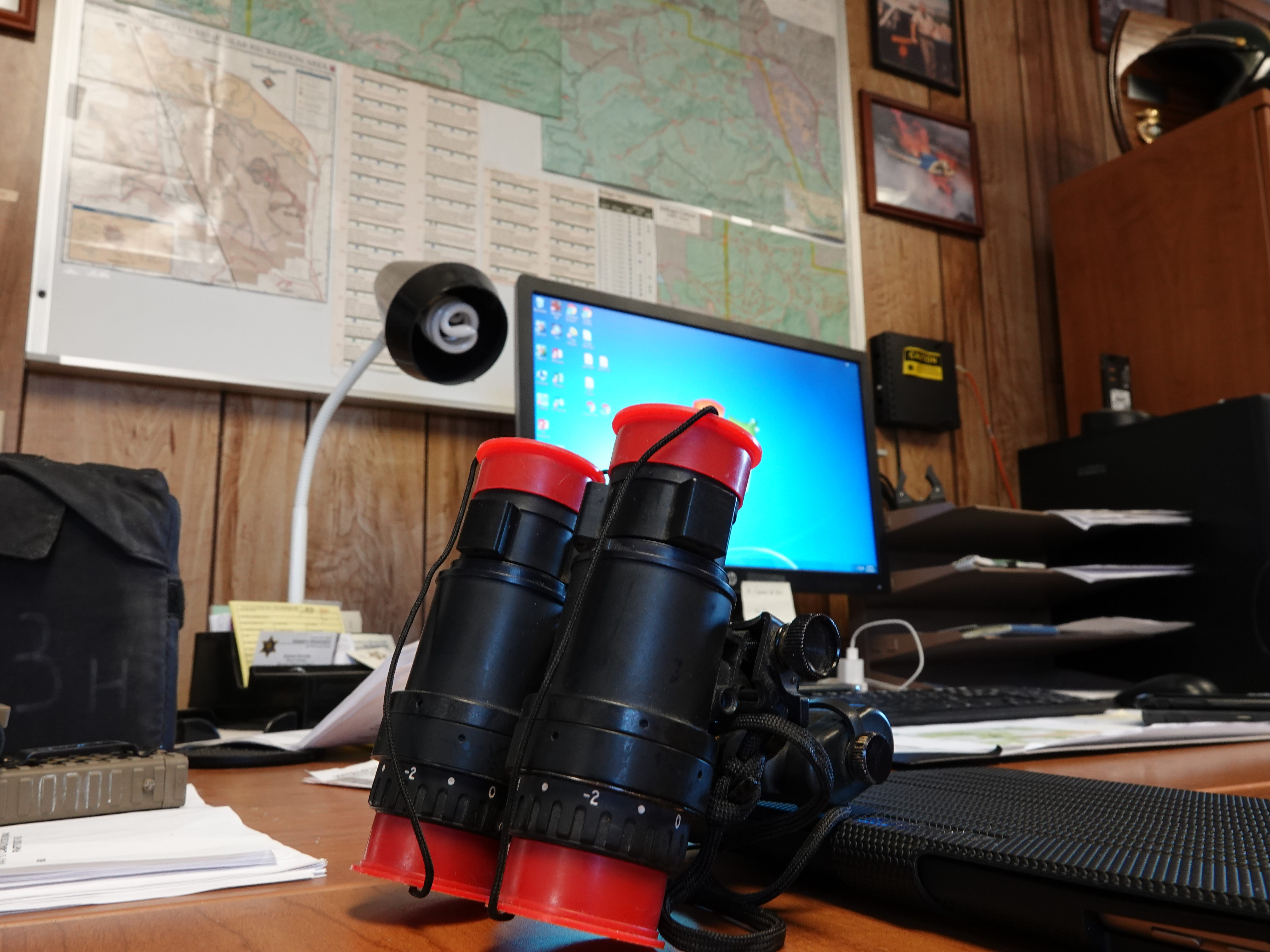 Night-vision goggles sit on a desk at the remote Lockwood Valley substation, where two live-in Ventura County sheriff's deputies oversee 610 square miles of sparsely populated terrain.