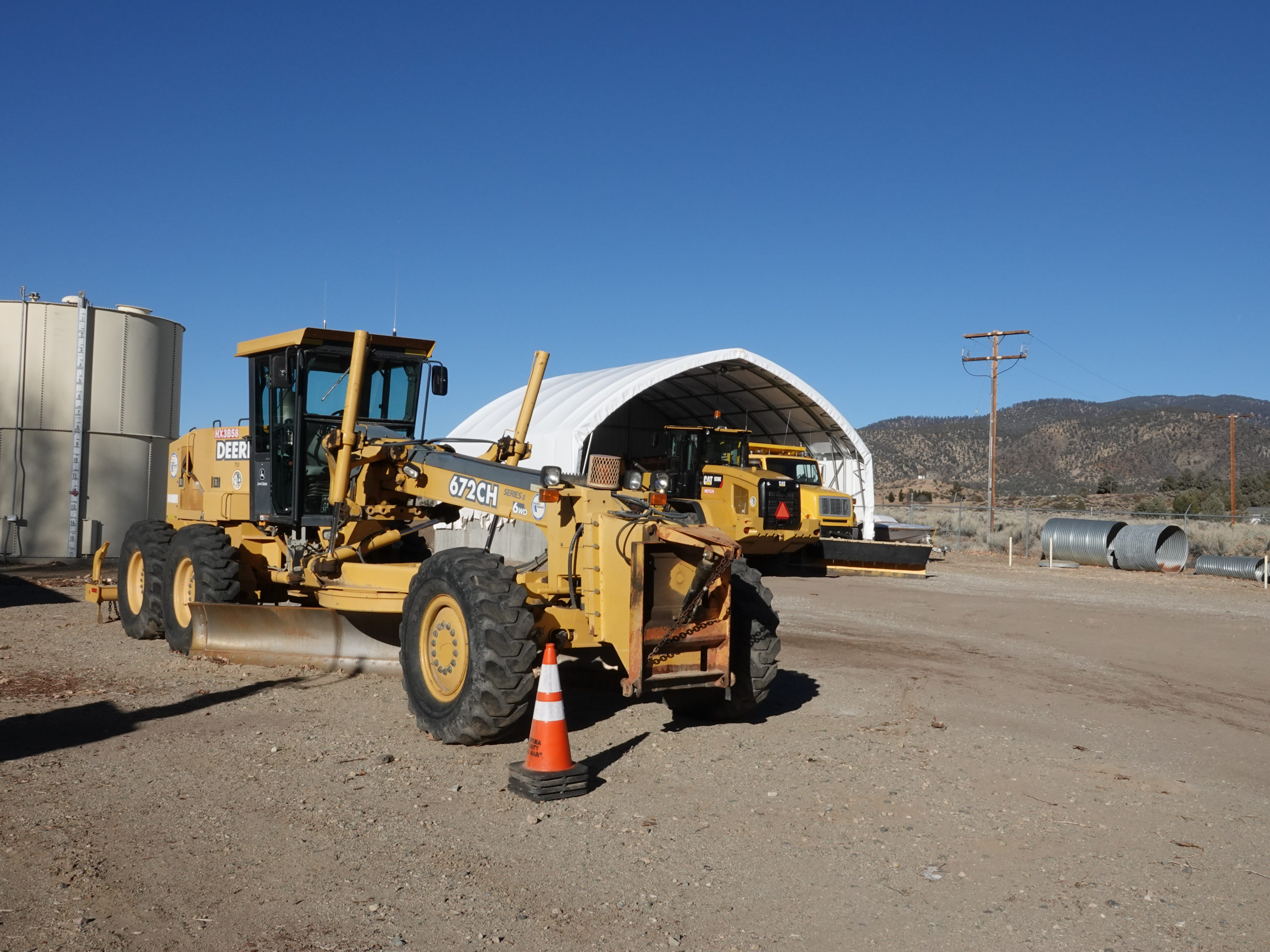 Ventura County road-clearing equipment is kept at a compound in the remote Lockwood Valley where a sheriff's substation, a seasonal fire station and a road maintenance division share space.