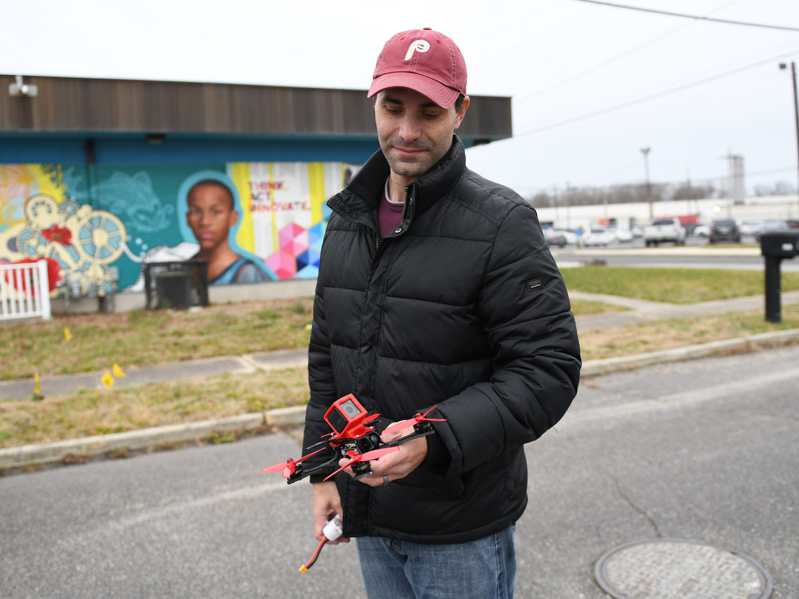 A Williamstown drone operator was happy to get his device back after Vineland Electric Utility worker Kevin Sherman dislodged the device from a power line on the 500 block of Crystal Avenue on Monday, December 31, 2018.