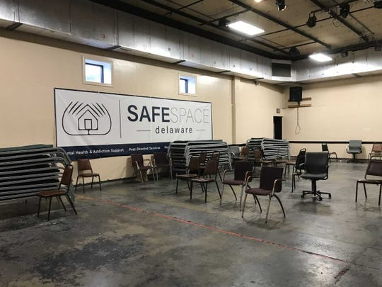 Cots are stacked up against the wall as SafeSpace Delaware, formerly known as the RVRC shelter, closes Monday.