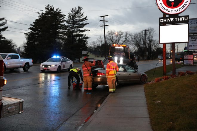 A two-car accident Monday evening delayed traffic along Maple Avenue.