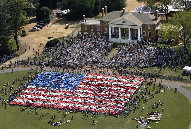 A Living Flag made up of 2,500 school children at James Madison's home of Montpelier in Virginia, Constitution Day, Sept. 17, 2008.