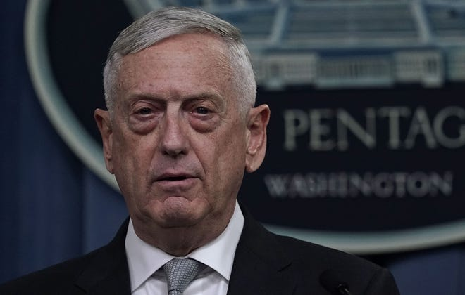 Defense Secretary Jim Mattis briefs members of the media on Syria at the Pentagon April 13, 2018 in Arlington, Virginia.