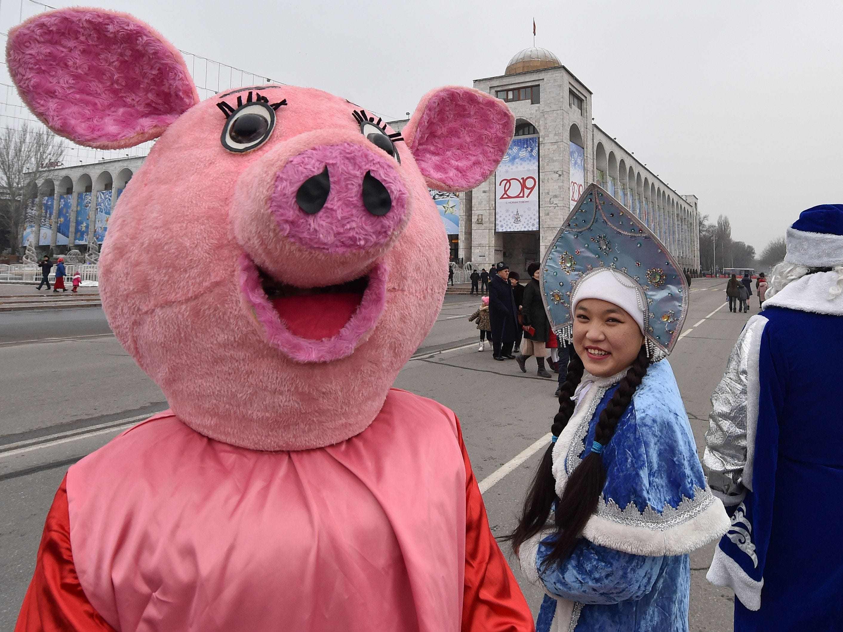 People attend the New Year's parade in Bishkek, northern Kyrgyzstan.