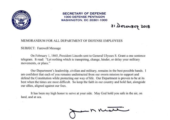 Defense Secretary Jim Mattis' farewell message from Dec. 31, 2018.
