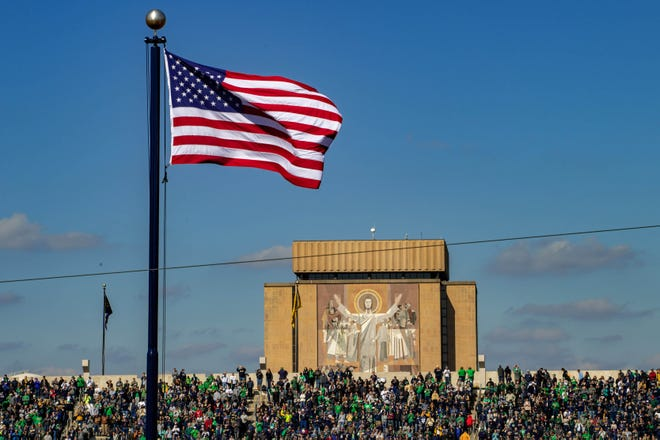 A general view of the Word of Life mural, commonly known as Touchdown Jesus looking over Notre Dame Stadium.