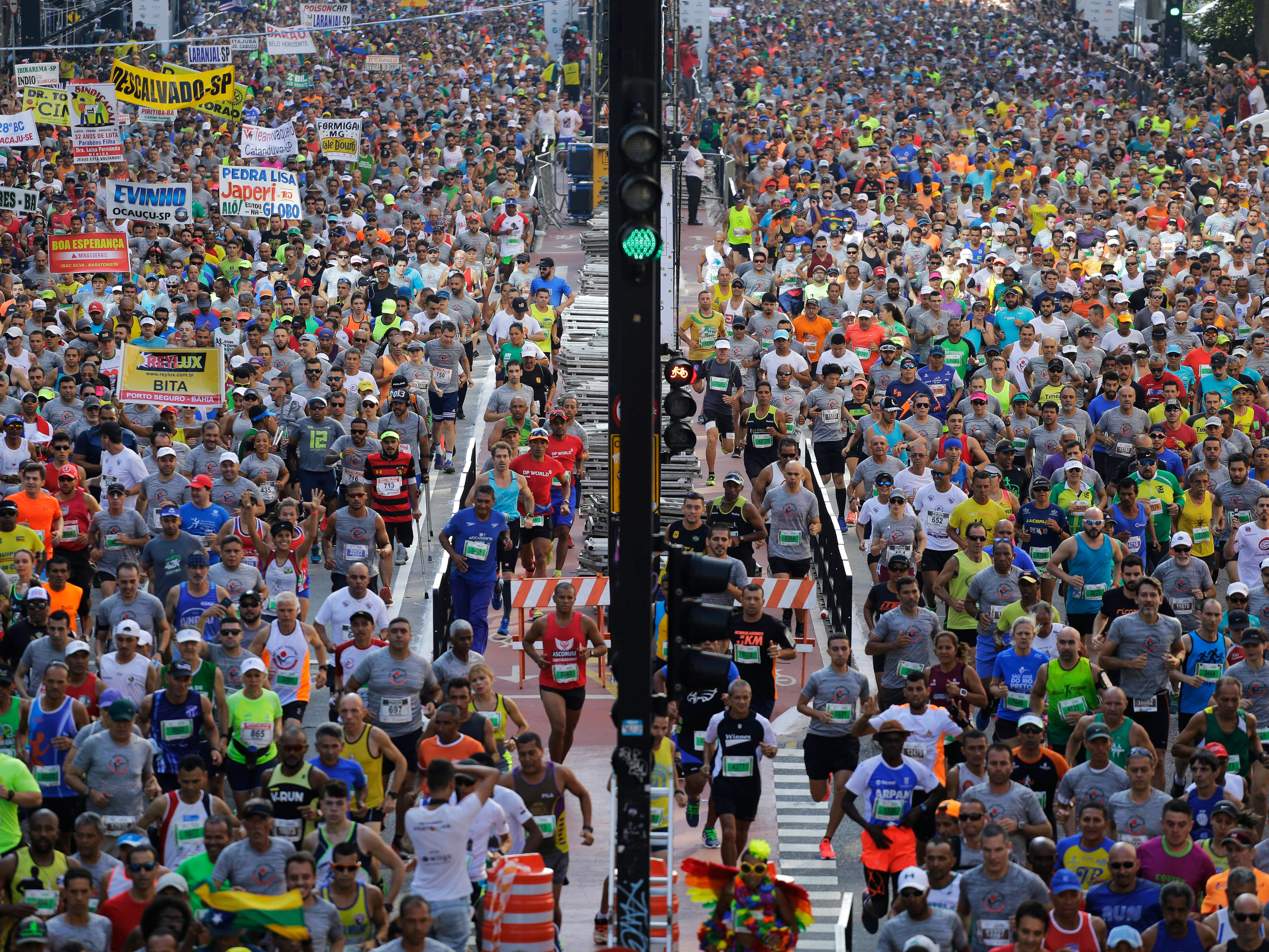 Runners start the Sao Silvestre race in Sao Paulo, Brazil.