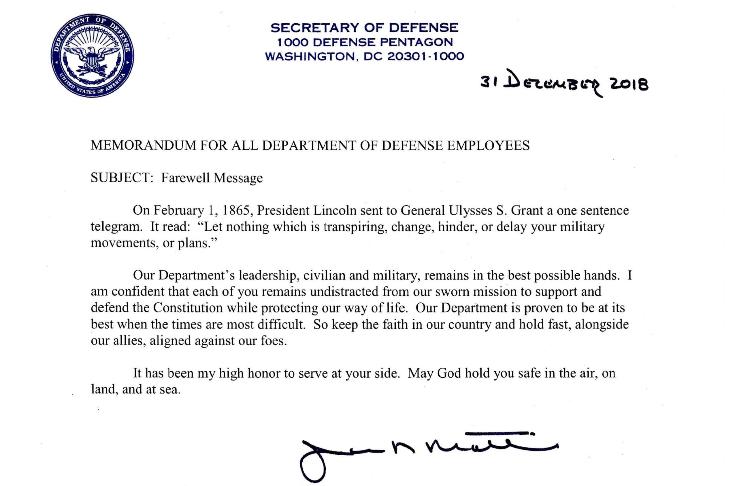 Defense Secretary Jim Mattis' farewell message from Dec. 31, 2018.