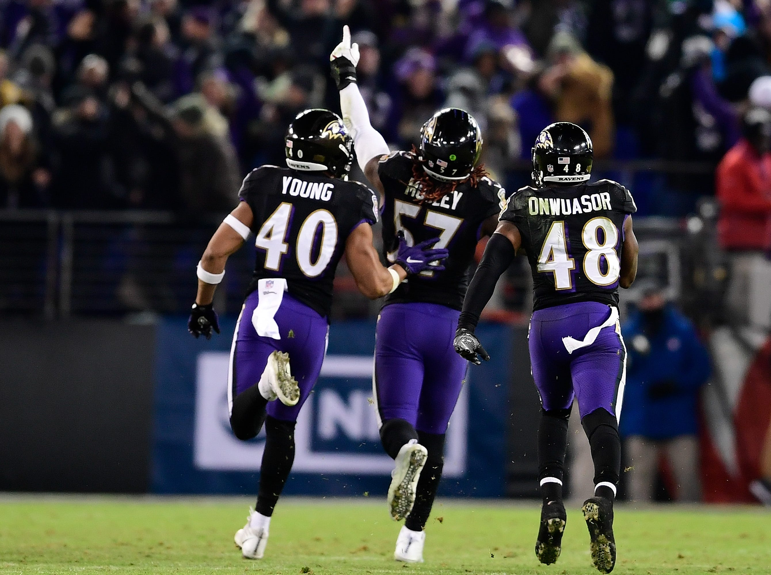 Dec. 30: Baltimore Ravens linebacker C.J. Mosley (57) celebrates with teammates after intercepting Cleveland Browns quarterback Baker Mayfield to seal the game and the AFC North title.