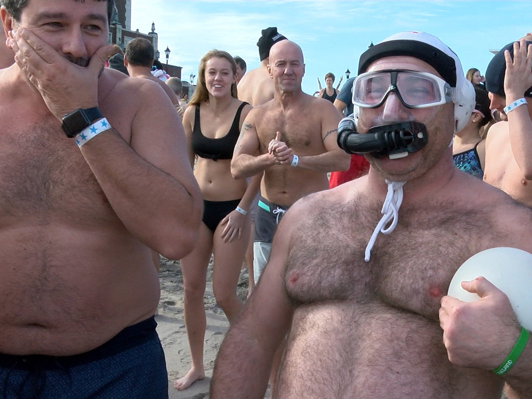 This man came prepared for his New Years Day dip in the ocean off Asbury Park during the Sons of Ireland Polar Plunge Tuesday, January 1, 2019.