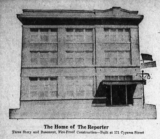 "The Abilene Reporter-News, back in 1921. Note the ""fireproof"" construction but what is not noted is if the building was ""waterproof."""