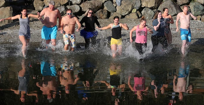 Brownsville Wild Plunge at the Brownsville Marina on Tuesday, January 1, 2019.