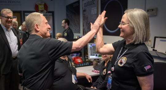 New Horizons principal investigator Alan Stern of the Southwest Research Institute (SwRI), Boulder, CO, left gives a high five to New Horizons Mission Operations Manager Alice Bowman of the Johns Hopkins University Applied Physics Laboratory after the team received signals from the spacecraft that it is healthy and collected data during the flyby of Ultima Thule, Tuesday, Jan. 1, 2019 at the Mission Operations Center of the Johns Hopkins University Applied Physics Laboratory (APL) in Laurel, Maryland. Photo Credit: (NASA/Bill Ingalls)