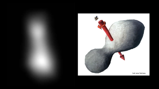 At left is a composite of two images taken by New Horizons' high-resolution Long-Range Reconnaissance Imager (LORRI), which provides the best indication of Ultima Thule's size and shape so far. Preliminary measurements of this Kuiper Belt object suggest it is approximately 20 miles long by 10 miles wide (32 kilometers by 16 kilometers). An artist's impression at right illustrates one possible appearance of Ultima Thule, based on the actual image at left. The direction of Ultima's spin axis is indicated by the arrows.