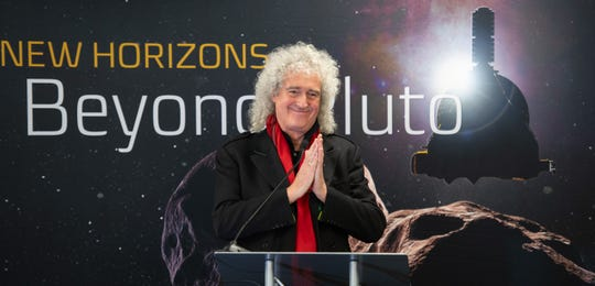 Brian May, lead guitarist of the rock band Queen and astrophysicist discusses the upcoming New Horizons flyby of the Kuiper Belt object Ultima Thule, Monday, Dec. 31, 2018 at Johns Hopkins University Applied Physics Laboratory (APL) in Laurel, Maryland. Photo Credit: (NASA/Bill Ingalls)