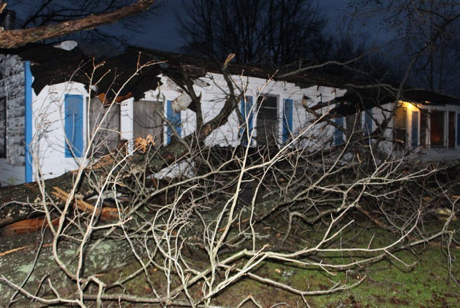 A tree damaged part of a home in Montgomery County on Monday afternoon as storms rolled through the area.