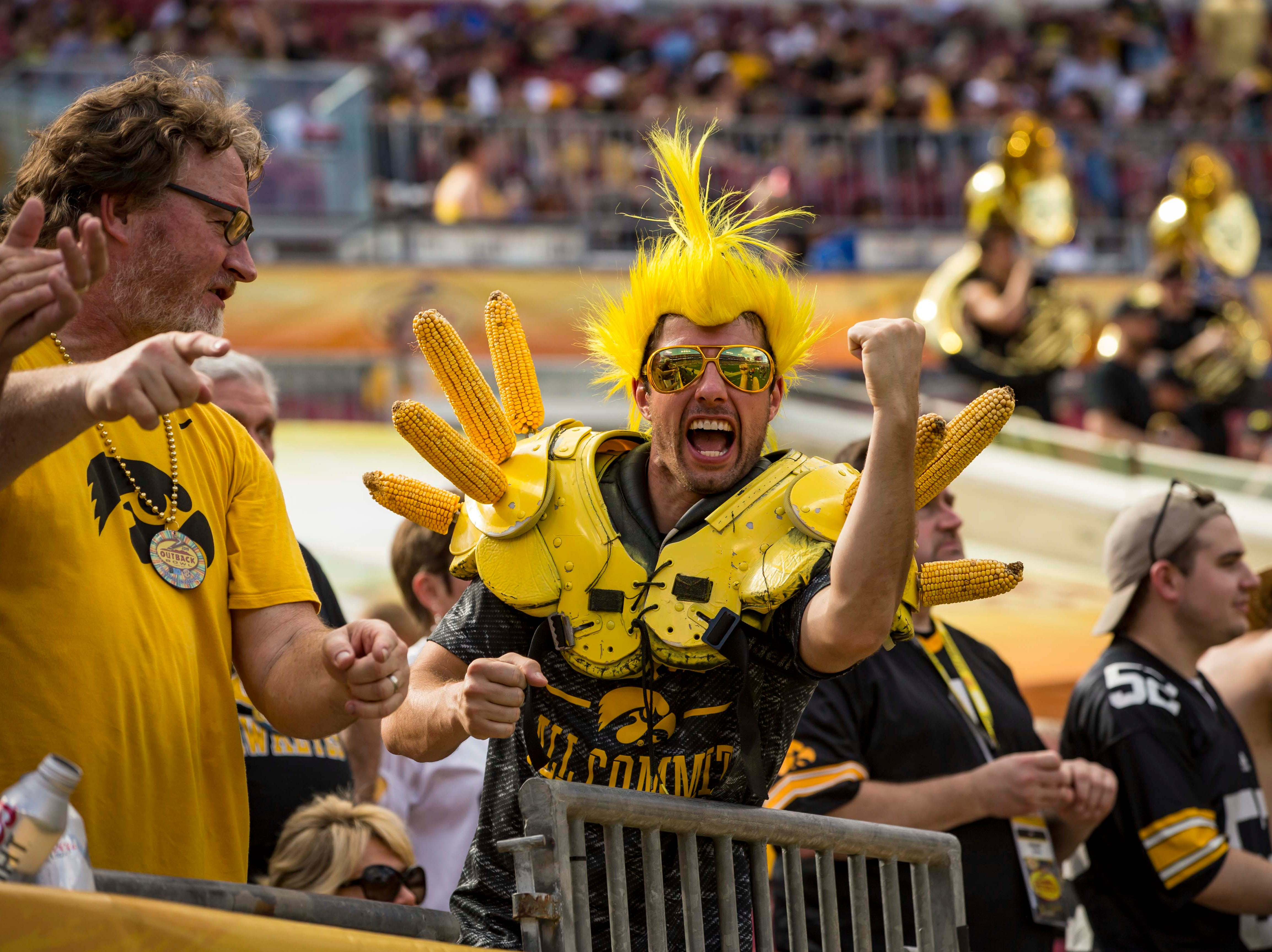 Colton Cason of Albia cheers in the first half at the  Outback Bowl Tues., Jan. 1, 2019, at Raymond James Stadium in Tampa, Florida. Iowa takes a 17-6 lead over Miss. St. into halftime.