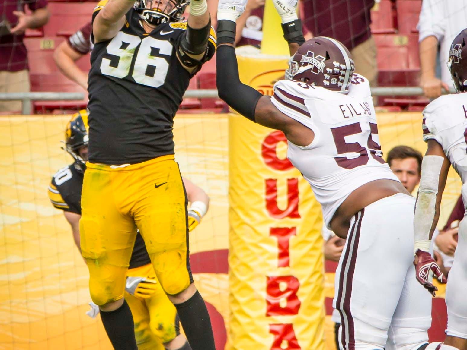 Iowa defensive end Matt Nelson breaks up a two-point conversion attempt by Mississippi State in the second half at the Outback Bowl Tues., Jan. 1, 2019, at Raymond James Stadium in Tampa, Florida. Iowa defeated Mississippi State 27-22.