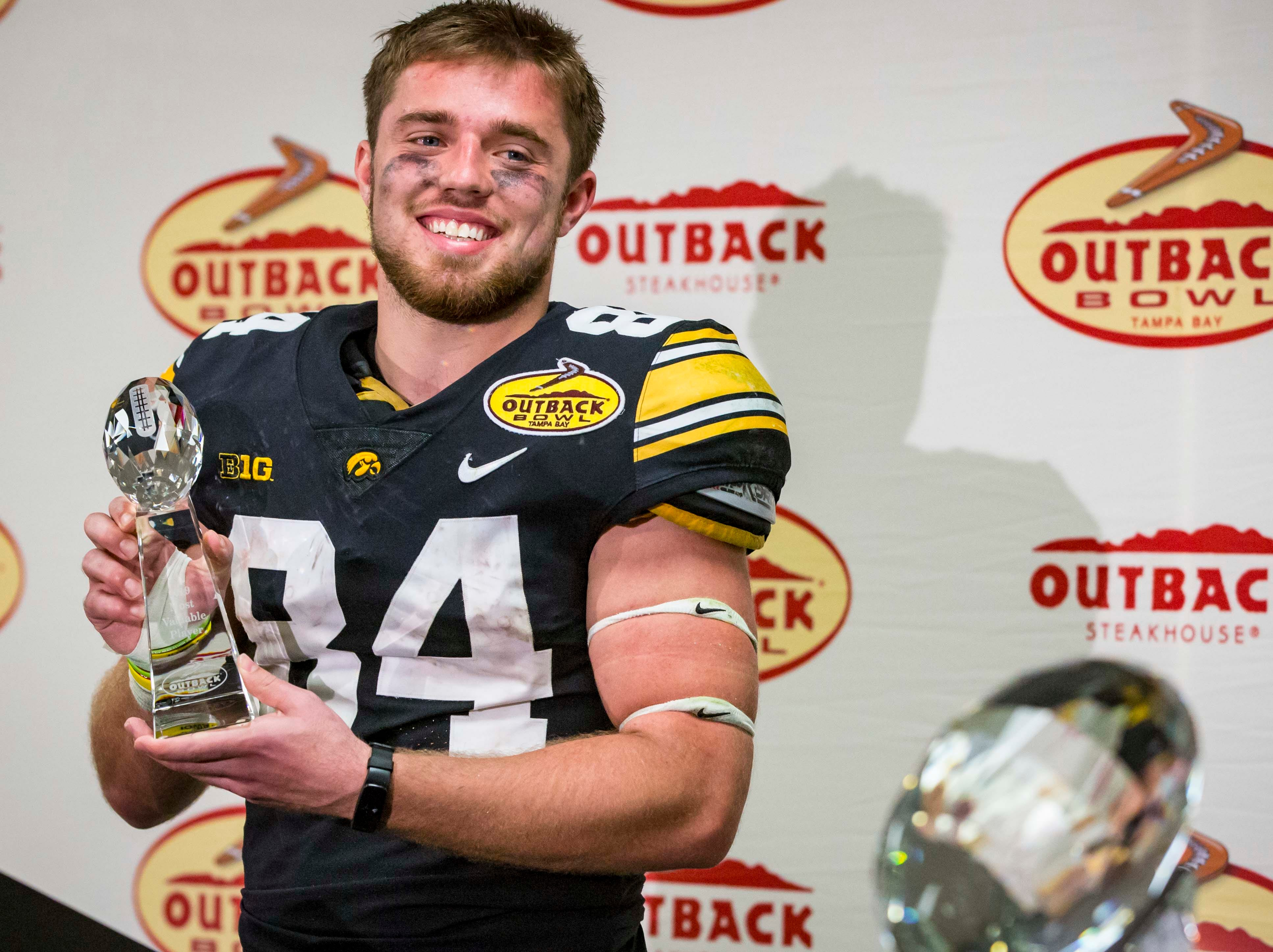 Outback Bowl most valuable player Iowa wide receiver Nick Easley after the Outback Bowl Tues., Jan. 1, 2019, at Raymond James Stadium in Tampa, Florida. Iowa defeated Mississippi State 27-22.