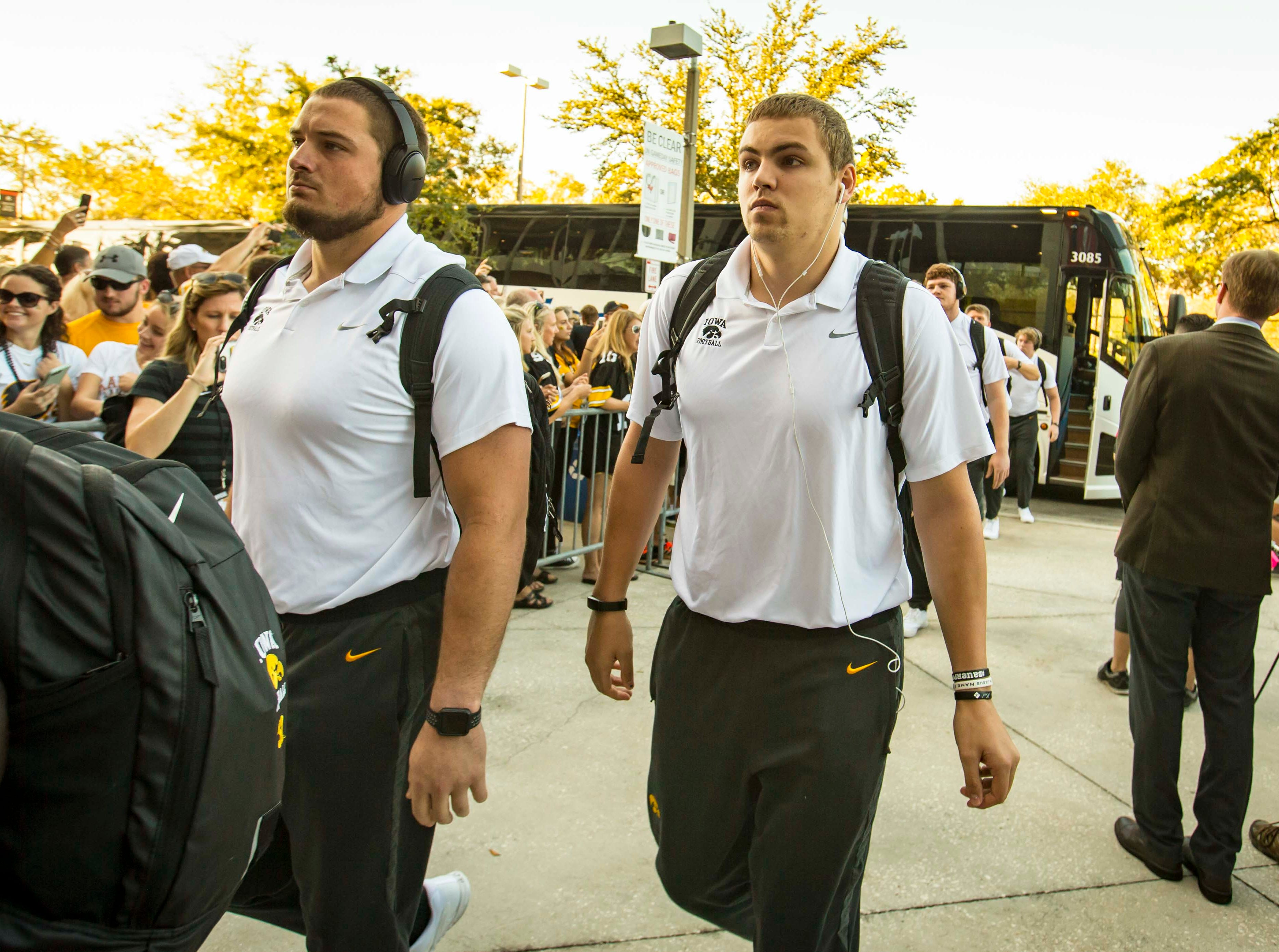 Iowa quarterback Nate Stanley arrives with the Iowa football team at Raymond James Stadium Jan. 1, 2019 in Tampa, Florida. Iowa takes on Mississippi State in the Outback Bowl.