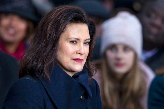 Gretchen Whitmer before being sworn in as Michigan's 49th governor, takes part in the inaugural ceremonies at the Capitol in Lansing on Tuesday,  Jan. 1, 2019.