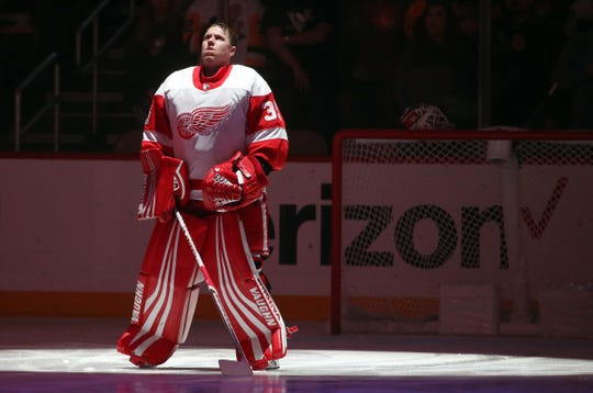 Detroit Red Wings goaltender Jimmy Howard stands for the national anthem against the Pittsburgh Penguins at PPG PAINTS Arena, Dec. 27, 2018.
