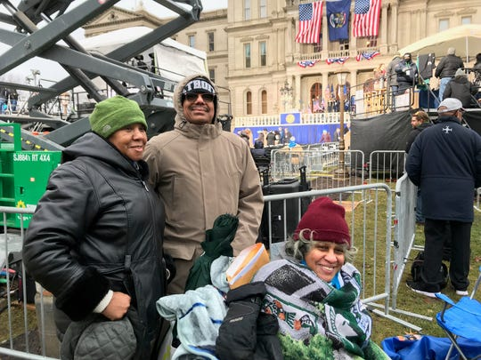 Retired educators Theresa Mattison and spouse Maurice Pope drove to Lansing from Detroit Monday night with Mattison's sister Barbara (right) for Tuesday's inauguration.