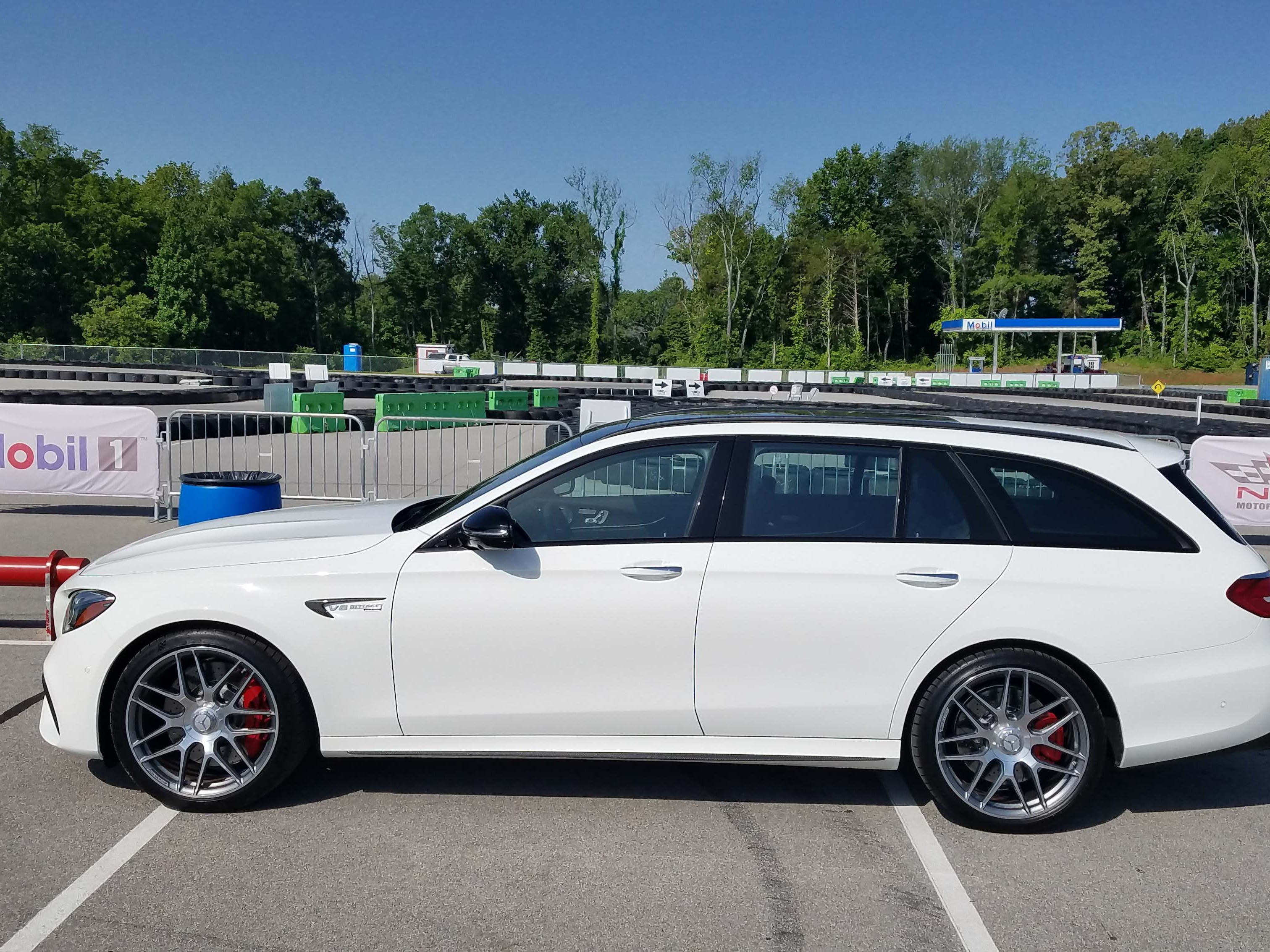 Ready to rumble. The Mercedes-AMG E63 S wagon pays a visit to the National Corvette Museum test track in Nashville.