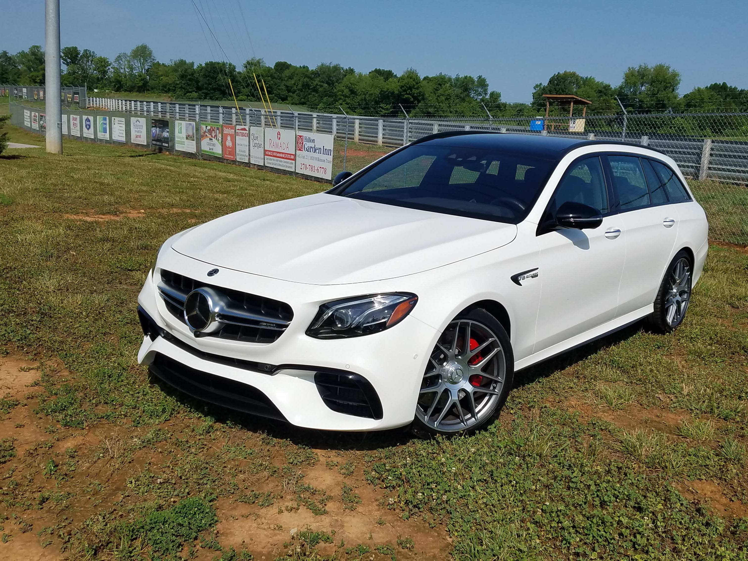 Unlike the dramatic Jaguar Sportbrake, the Mercedes-AMG E63 S wagon looks relatively civilized — but for its huge front air scoops and the rumble of its V-8 engine.