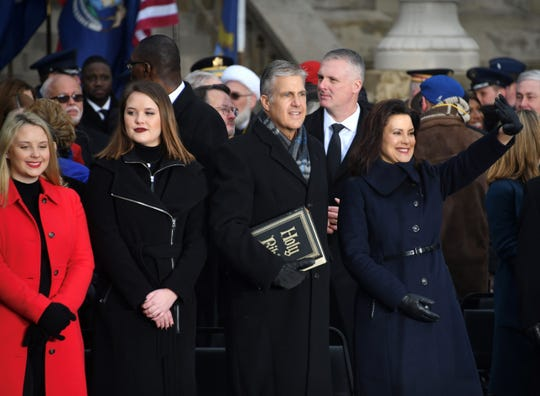 Gretchen Whitmer in Lansing on Tuesday for her inauguration.