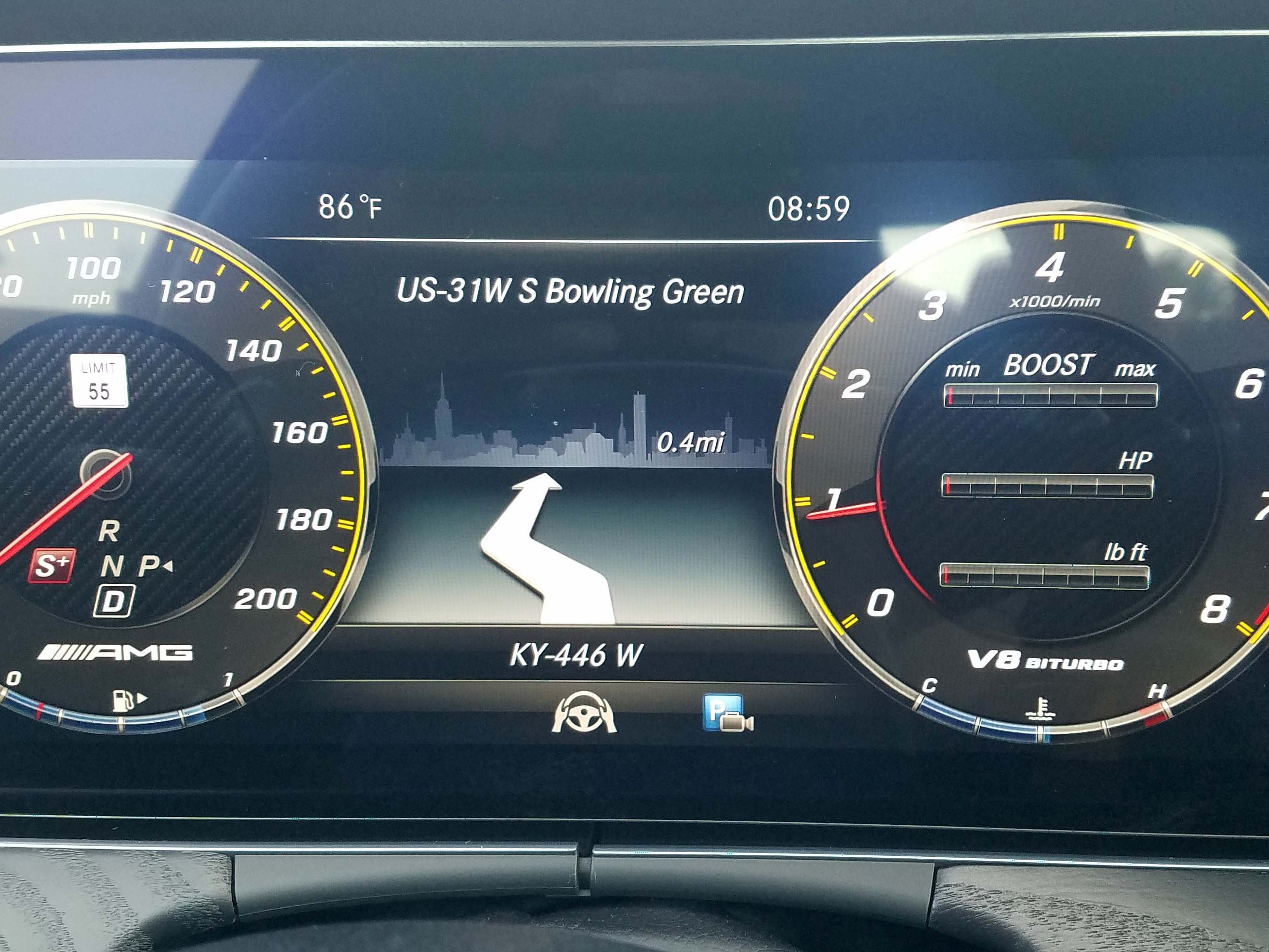 The Mercedes-AMG E63 S wagon comes with a state-of-the-art digital instrument display.