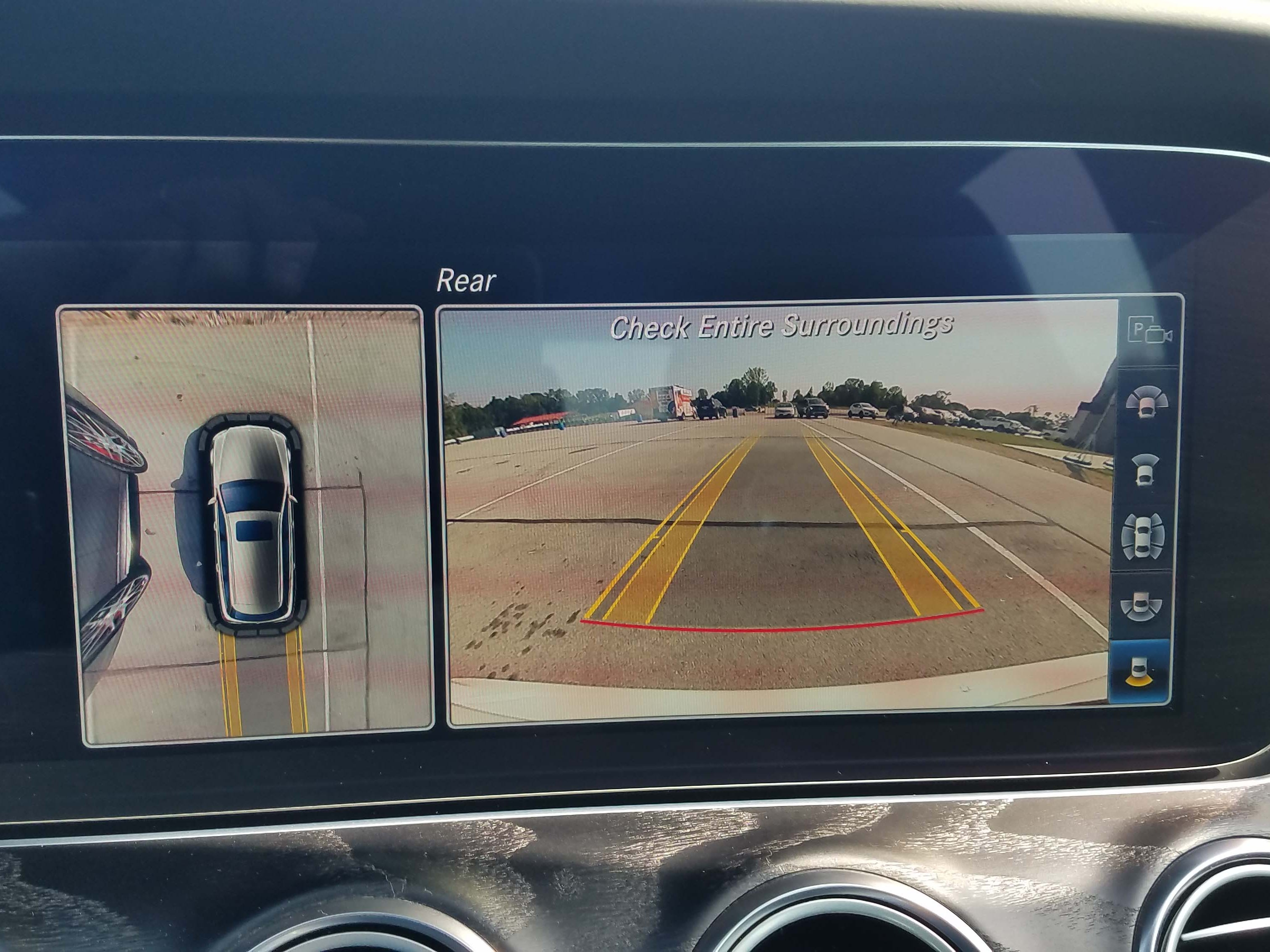 The Mercedes-AMG E63 S wagon brings a long menu of cool features like 360-degree camera for surveying the car's immediate vicinity.
