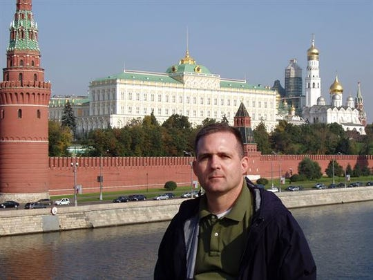 Marine Corps. Staff Sgt. Paul N. Whelan stands in front of Moscow's Cathedral of Christ the Saviour on a two-week trip during his deployment to Iraq. Whalen, now retired and living in Novi, was arrested in Russia during a different trip on allegations that he is a spy. His brother says he is innocent and was there for a wedding.