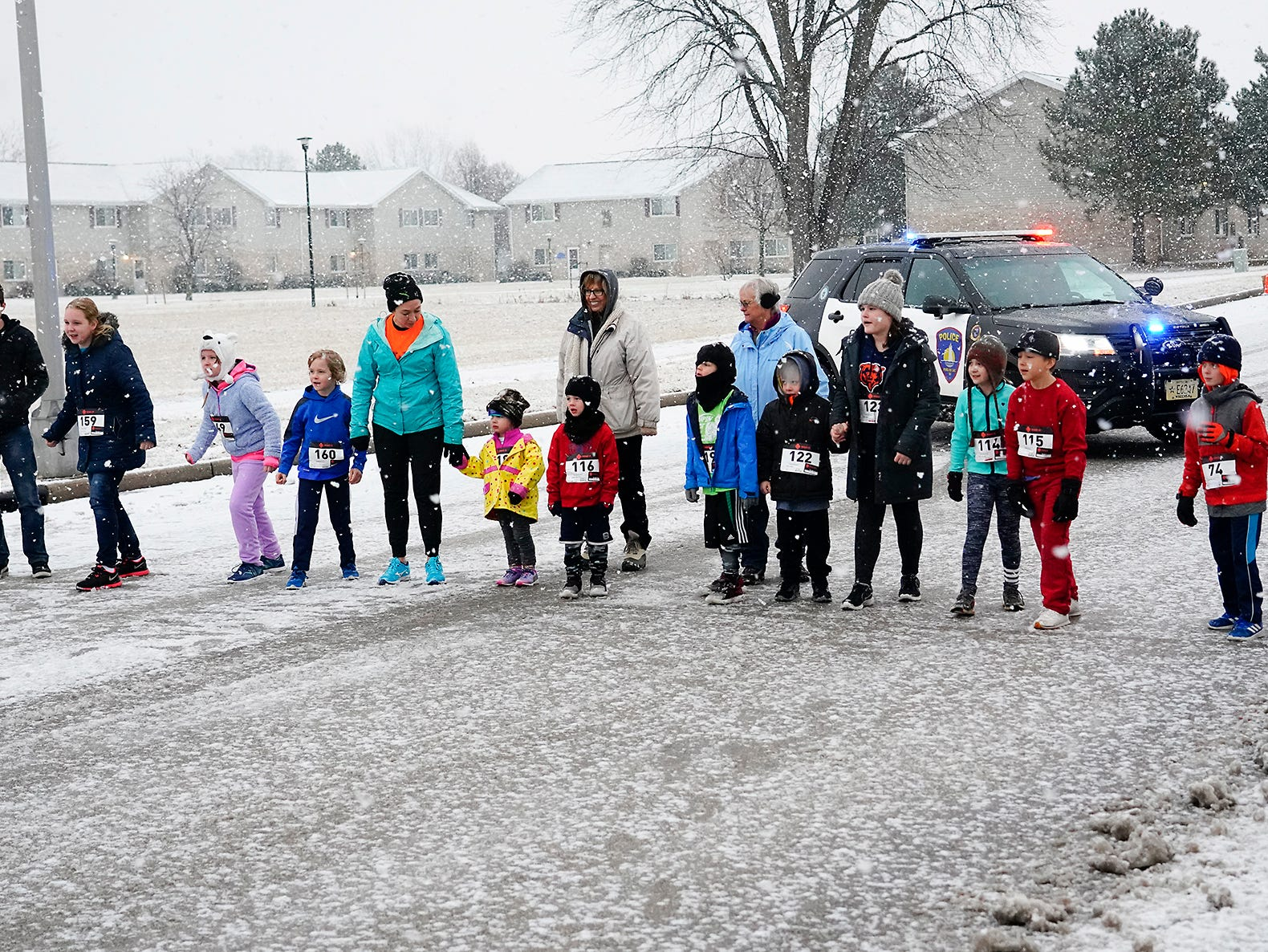 Kids get ready to run in the half mile kids run Monday, December 31, 2018 at Marian College during the Chilly Chili 5k Run/Walk hosted by the Fond du Lac Running Club. Submitted by L.A.PHOTOGRAPHY for USA TODAY NETWORK-Wisconsin