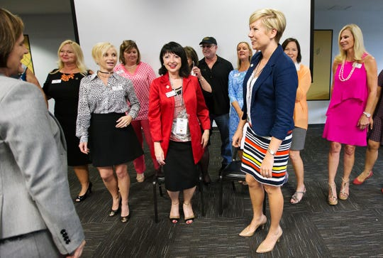Barbara Dell, center, and Samantha Scott receive the Apex Award in 2017. Dell and Scott are being honored for their professional achievements, community service efforts, mentoring and leadership. The Women in Business committee of the Greater Fort Myers Chamber of Commerce presents the honor. Dell died of cancer on Tuesday.