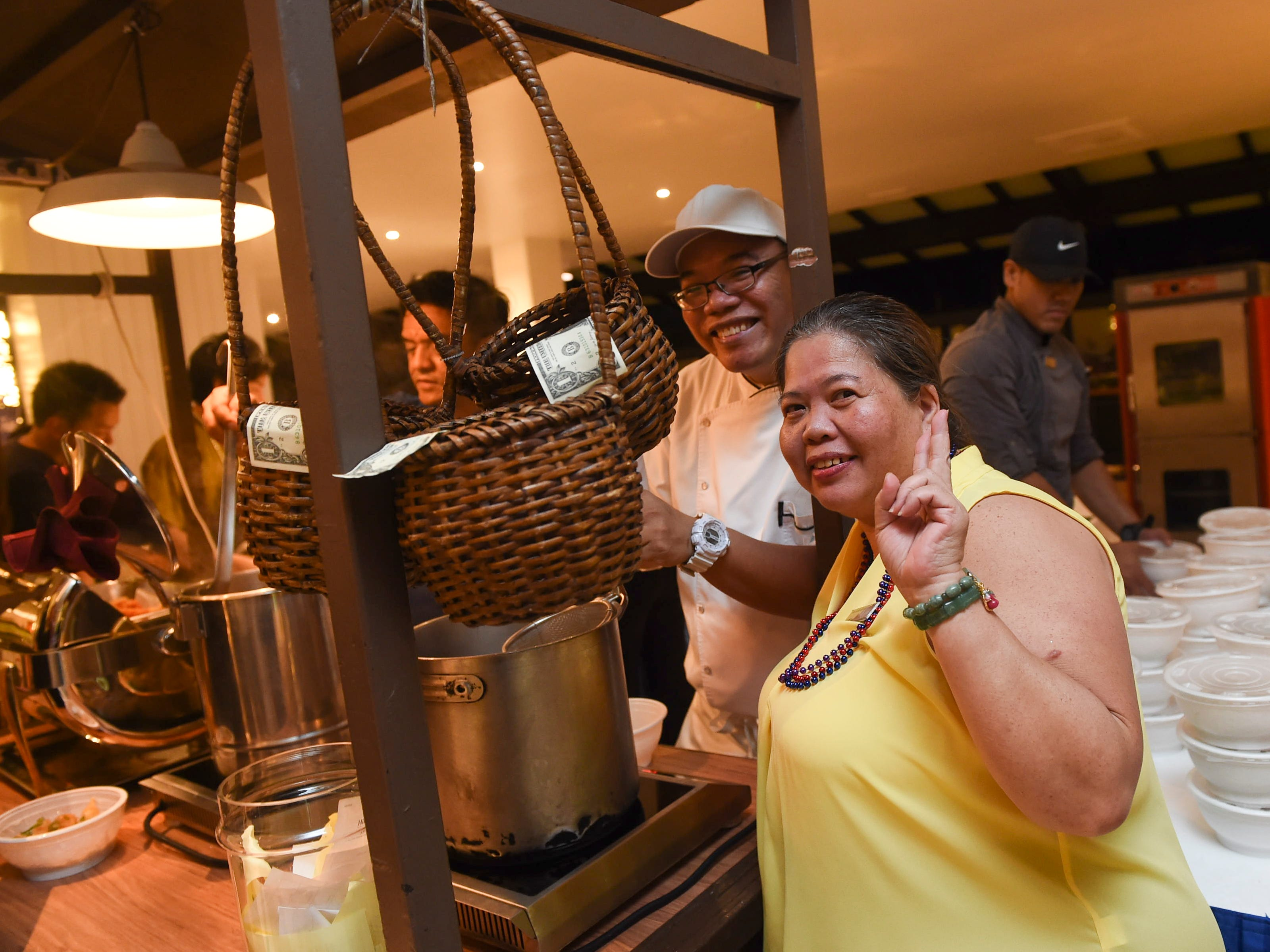 The traditional Long Life Noodles cart is set up for service in celebration of New Year's Day at the Hilton Guam Resort and Spa lobby, Jan. 1, 2019.