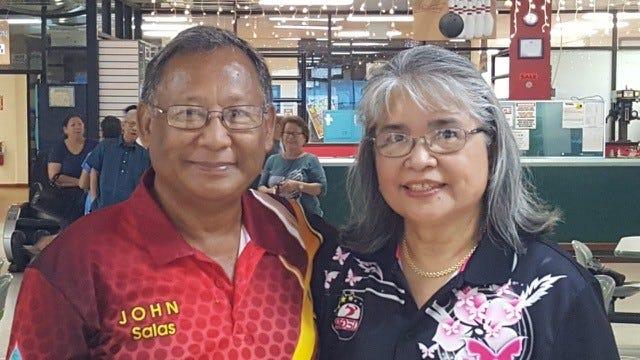 John Salas, left, defeated Patricia Roberto to claim the 2018 Guam Senior Bowlers Association Senior Bowler of the Year crown.